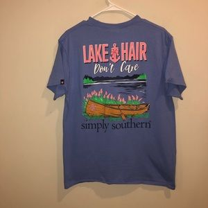 Simply Southern lake hair don't care t shirt blue